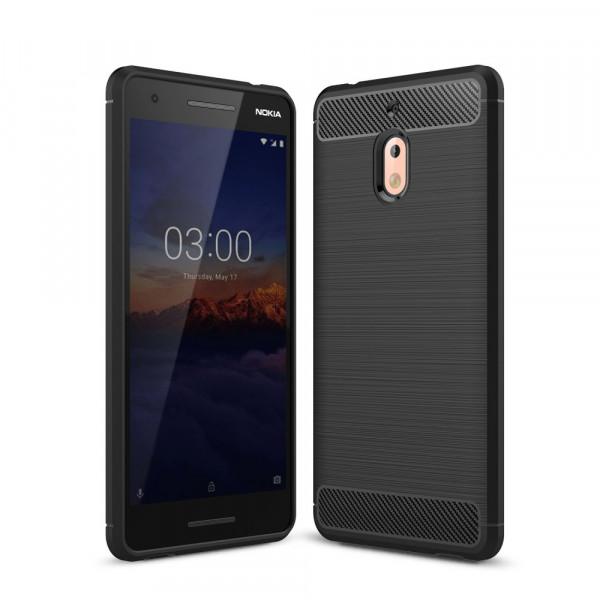 Nokia 2.1 2018 - Silikon Gummi Case Metall Carbon Look schwarz