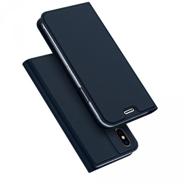 iPhone X - Dux Ducis Leder Flip Folio Case blau