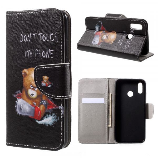 Huawei P20 Lite - Leder Hülle Kartenfach Etui Don't Touch Bär