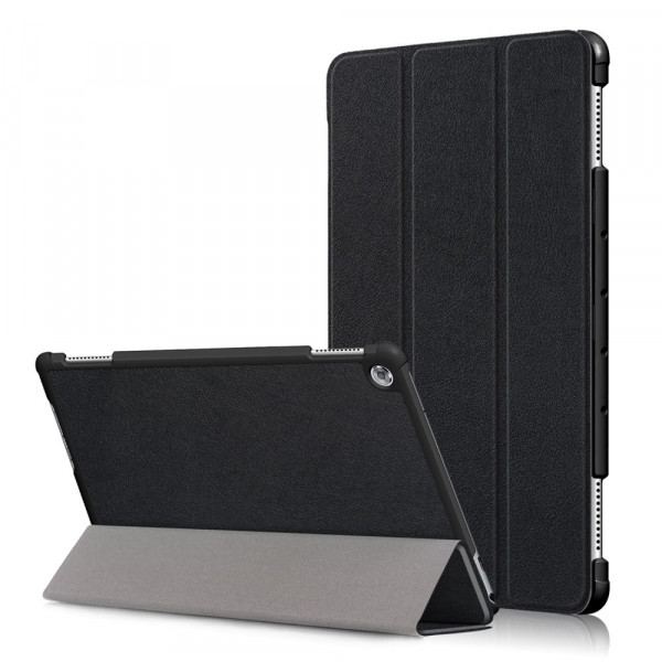 MediaPad M5 Lite 10.1 - Tri-fold Smart Leder Tasche Hülle schwarz