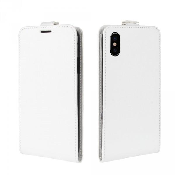 iPhone 8 - Leder Flip Case mit Fotofach vertikal weiss