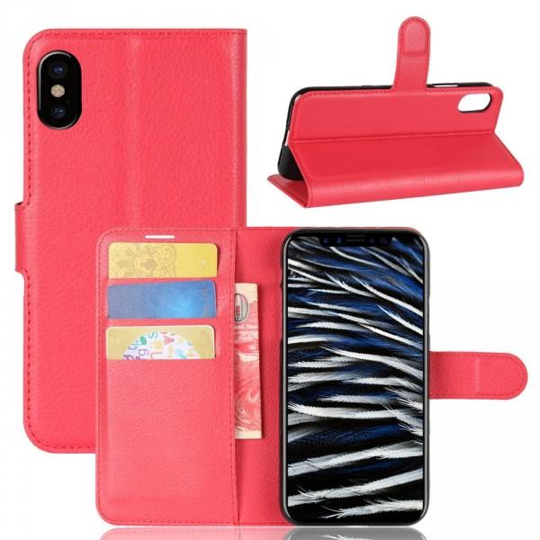 iPhone 8 - Leder Taschen Etui  Hülle Kartenfächer rot