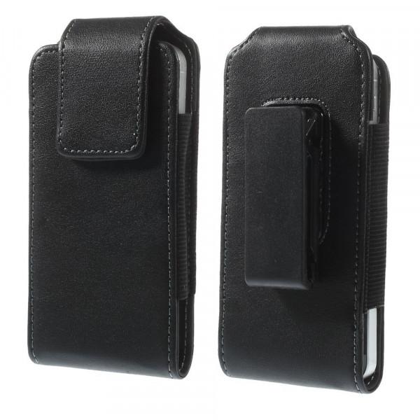 Universal - 360° Gurttasche XS mit Clip vertikale Lederhülle schwarz