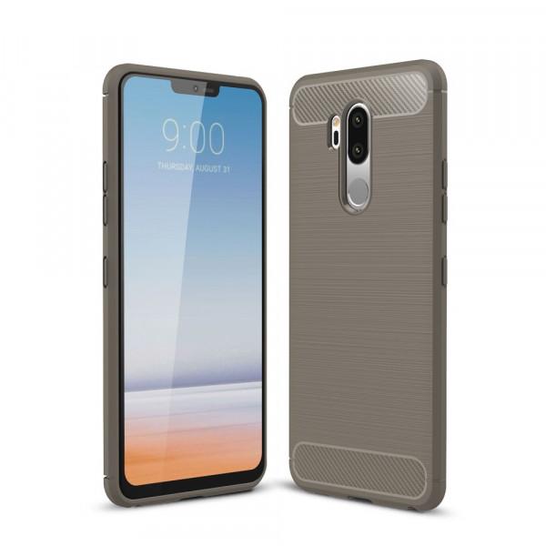 LG G7 - Silikon Gummi Case Metall Carbon Look grau