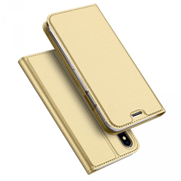iPhone XS Max - Dux Ducis Leder Flip Folio Case gold
