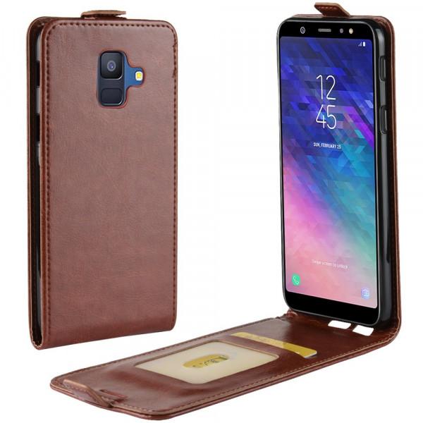 Galaxy A6 2018 - Leder Flip Case mit Fotofach vertikal braun