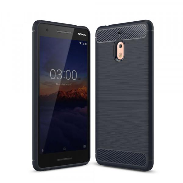 Nokia 2.1 2018 - Silikon Gummi Case Metall Carbon Look blau