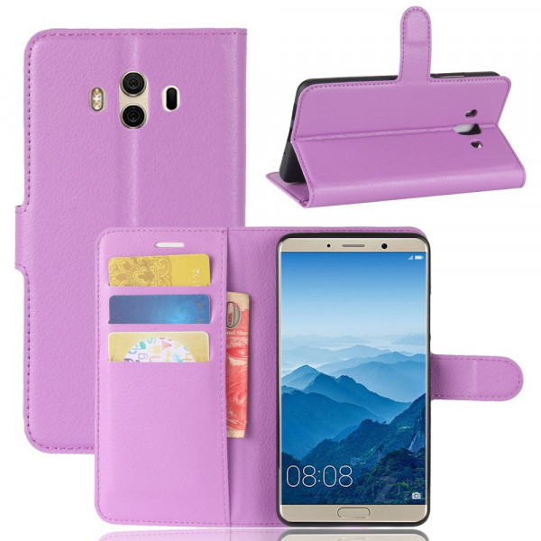 Huawei Mate 10 - Leder Taschen Etui Hülle Kartenfächer violett