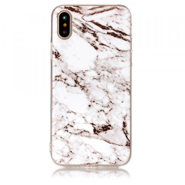 iPhone Xs / X - Softes Silikon Gummi Case white Marble
