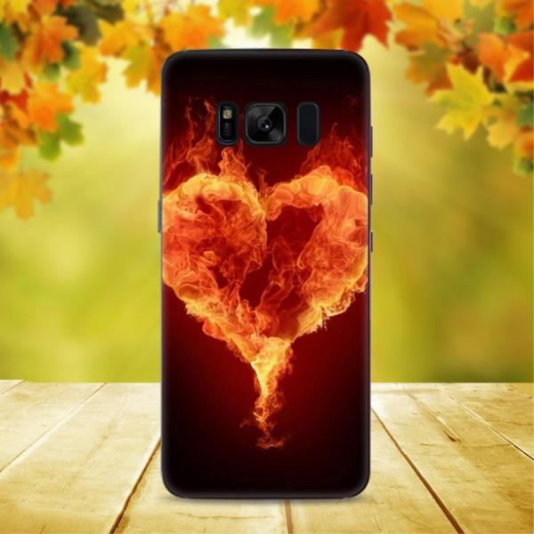 Galaxy S8+ PLUS -  Transparente Silikon Gummi Hülle Heart on Fire