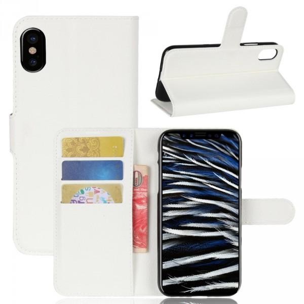 iPhone 8 - Leder Taschen Etui  Hülle Kartenfächer weiss