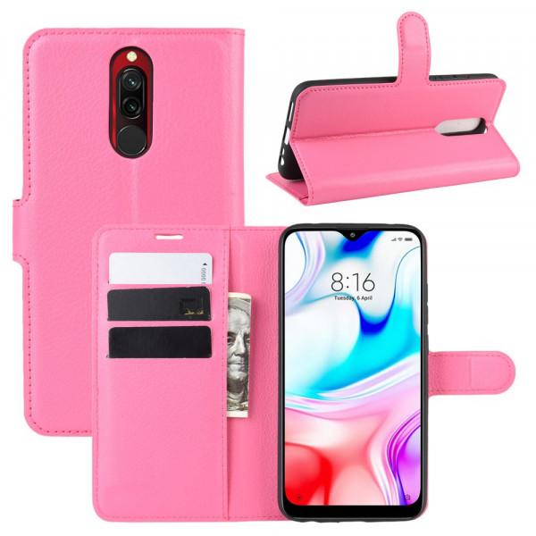 Xiaomi Redmi 8 -  Leder Etui Hülle mit Kartenfächern pink