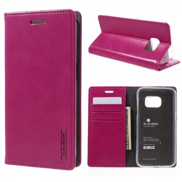 Huawei P10 Plus - Blue Moon Leder Flip Etui Hülle Karten pink