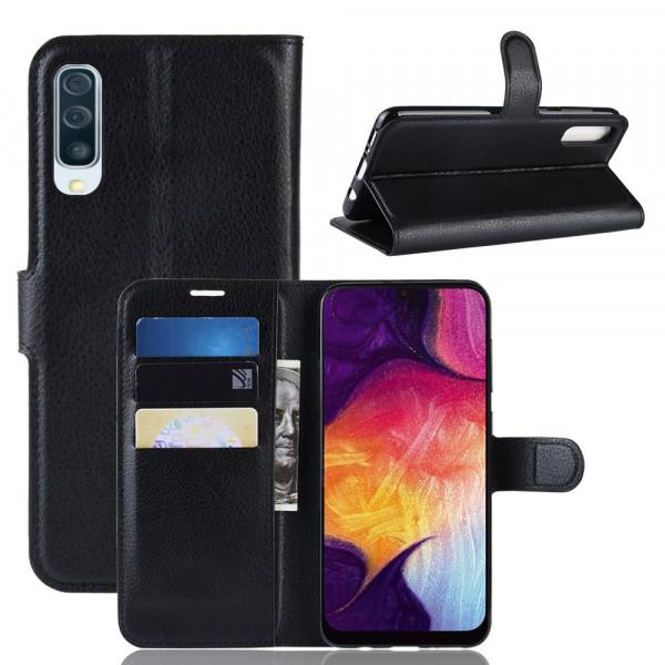 Galaxy A50 -  Leder Etui Hülle mit Kartenfächern schwarz