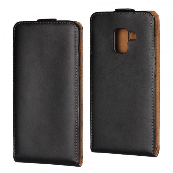 Galaxy A8 2018 - Vertikales Split Leder Flip Case schwarz