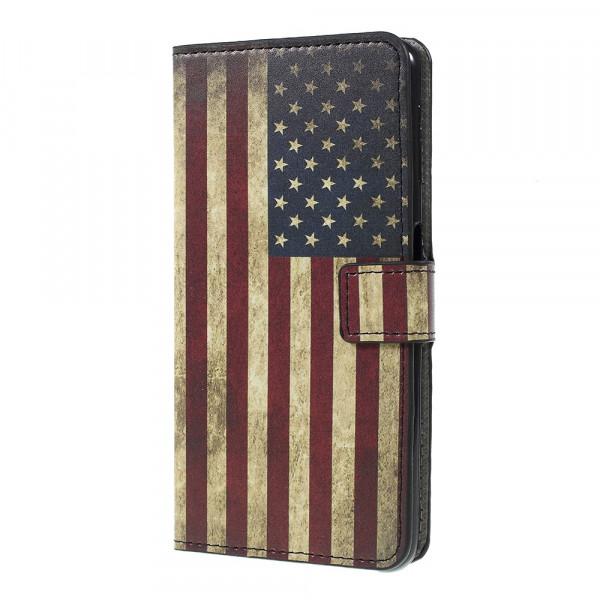 Galaxy A7 2018 - Leder Hülle Kartenfach Etui US Flagge
