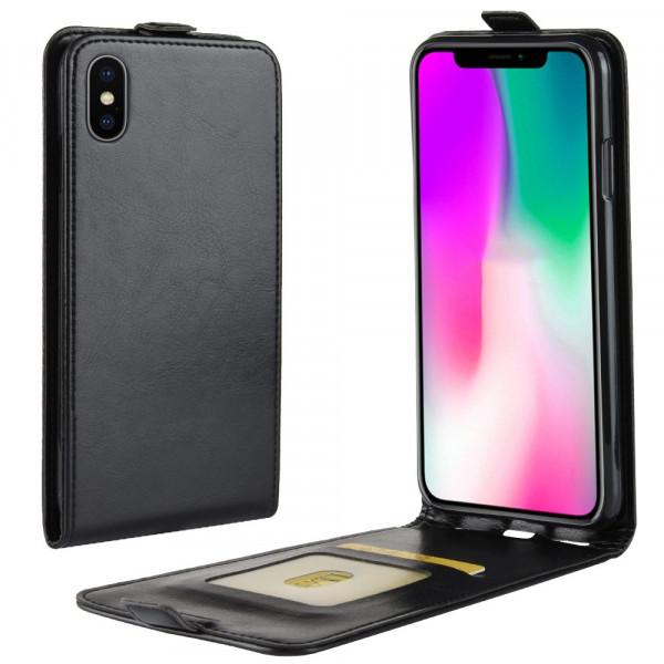 iPhone 9 - Klassisches Leder Flip Case schwarz