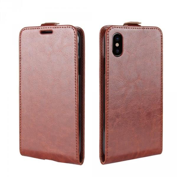 iPhone 8 - Leder Flip Case mit Fotofach vertikal braun