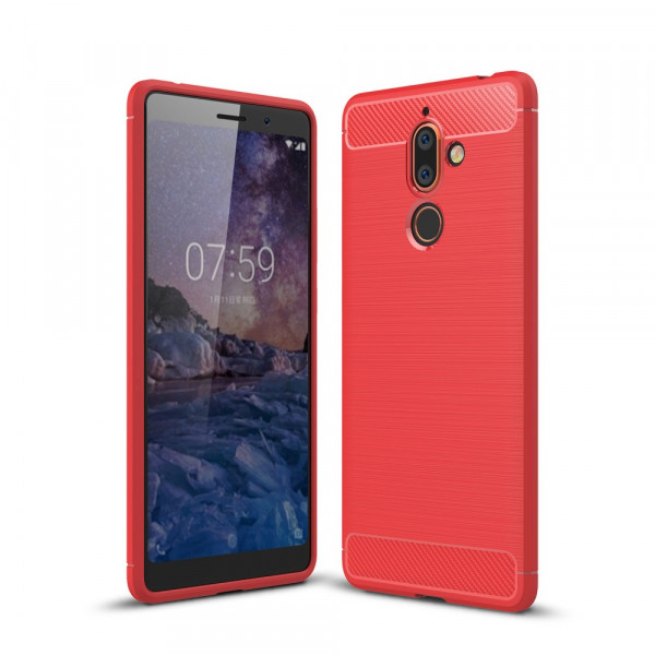 Nokia 7 Plus - Silikon Gummi Case Metall Carbon Look rot