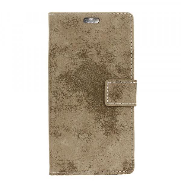 iPhone XS Max - Vintage Leder Hülle in Wildleder Optik khaki