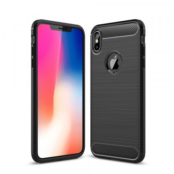 iPhone XS Max - Silikon Gummi Case Metall Carbon Look schwarz