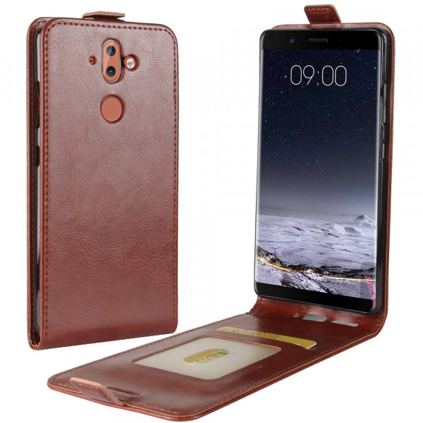 Nokia 9 - Leder Flip Case mit Fotofach vertikal braun