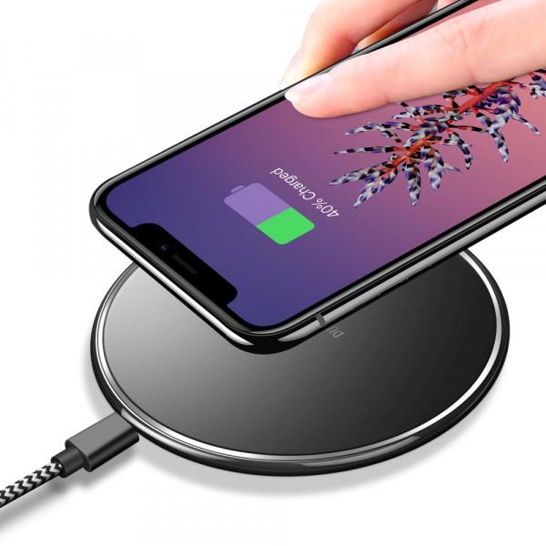 DuxDucis Qi Wireless Charger Pad Handy Ladestation Induktion schwarz