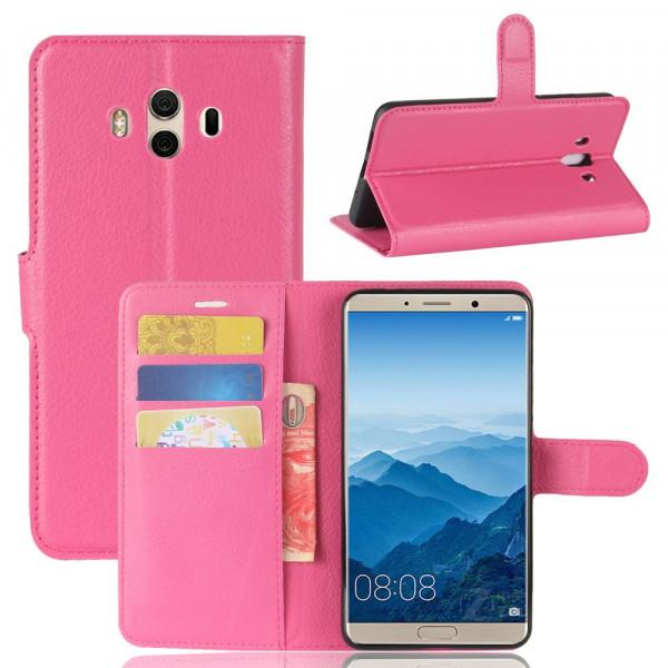 Huawei Mate 10 - Leder Taschen Etui Hülle Kartenfächer pink