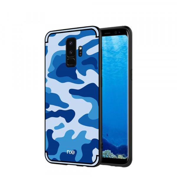Galaxy S9 - Hybrid Silikon Case mit Kickstand Camouflage blau
