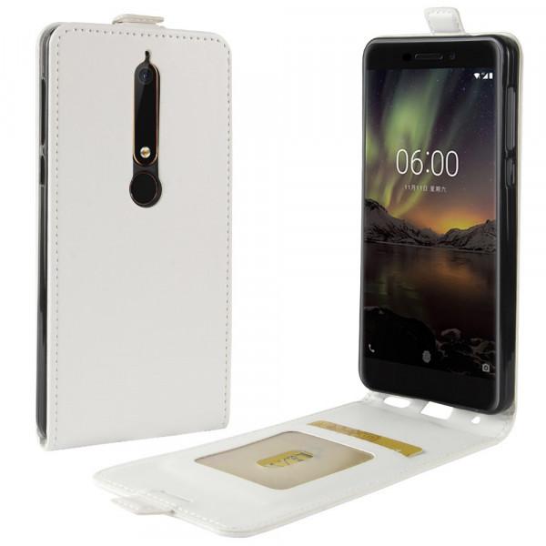 Nokia 6.1 2018 - Leder Flip Case mit Fotofach vertikal weiss