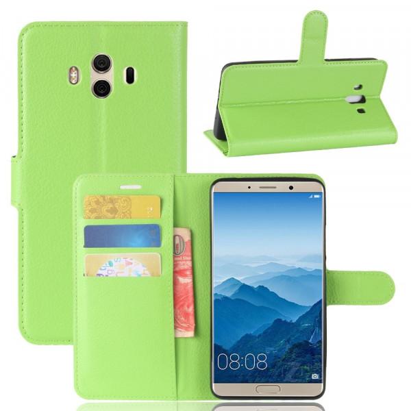 Huawei Mate 10 - Leder Taschen Etui Hülle Kartenfächer grün