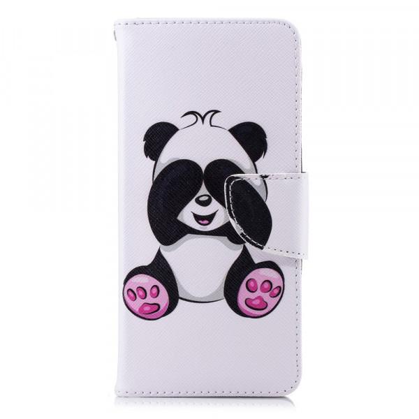 Nokia 5.1 2018 - Leder Taschen Etui  Hülle Kartenfächer Panda