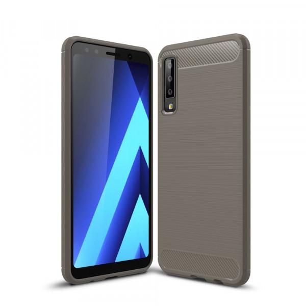 Galaxy A7 2018 - Silikon Gummi Case Metall Carbon Look grau