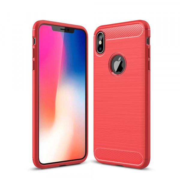 iPhone XS Max - Silikon Gummi Case Metall Carbon Look rot