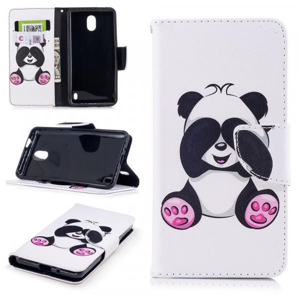 Nokia 2 - Leder Taschen Etui  Hülle Kartenfächer Panda