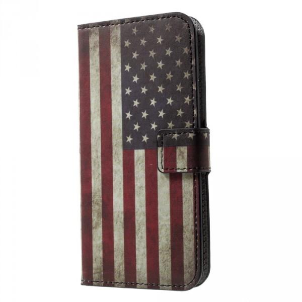 iPhone 8 - Leder Hülle Etui Vintage USA Amerika Flagge
