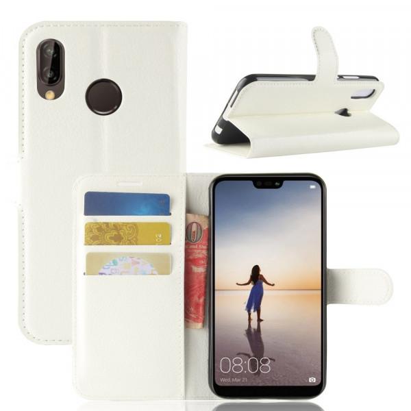 Huawei P20 Lite - Leder Taschen Etui Hülle Kartenfächer weiss