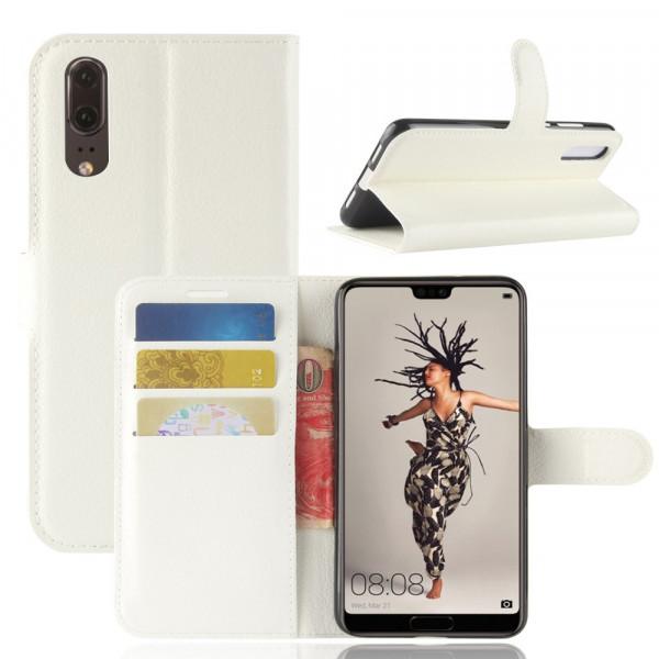 Huawei P20 - Leder Taschen Etui Hülle Kartenfächer weiss
