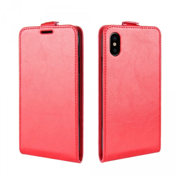 iPhone 8 - Leder Flip Case mit Fotofach vertikal rot