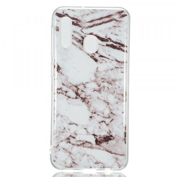 Galaxy A20e - Softes Silikon Gummi Case white Marble