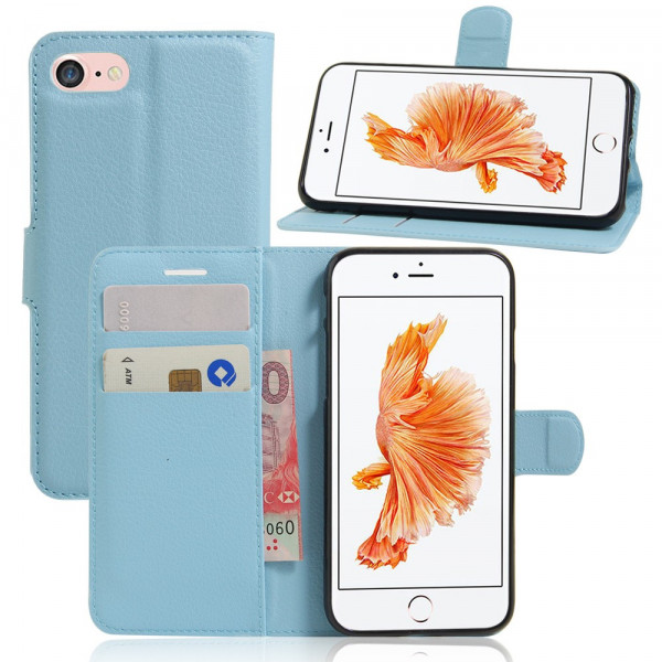 iPhone 8 / 7 - Leder Tasche Etui Hülle Karten Fächer hellblau