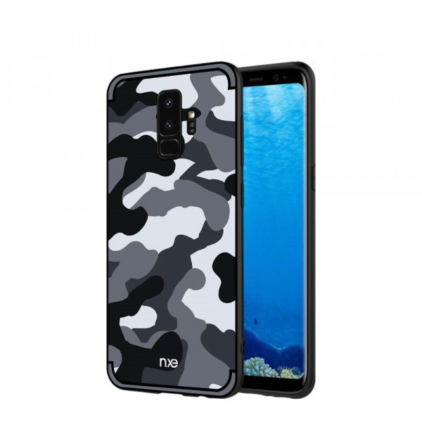 Galaxy S9 - Hybrid Silikon Case mit Kickstand Camouflage grau