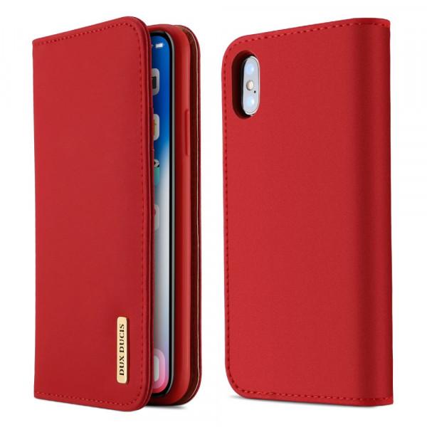 iPhone X - Dux Ducis Wish Series Echtleder Hülle rot