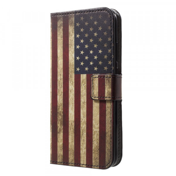 Huawei P20 Lite - Leder Hülle Kartenfach Etui USA Amerika Flagge