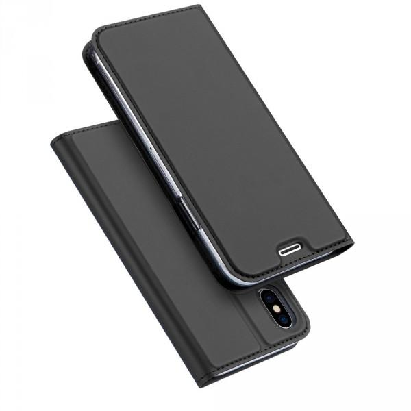 iPhone XS MAX - Dux Ducis Leder Flip Folio Case anthrazit