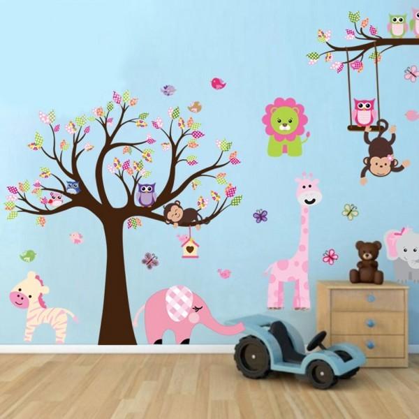 Wand Sticker Tattoo Wanddekoration Aufkleber Baum und Tiere