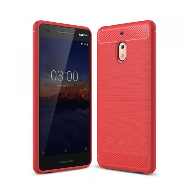 Nokia 2.1 2018 - Silikon Gummi Case Metall Carbon Look rot