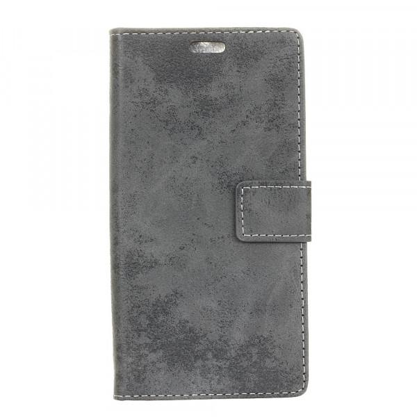 iPhone XS Max - Vintage Leder Hülle in Wildleder Optik grau